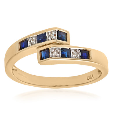 Ladies 9ct Yellow Gold Diamond and Sapphire Crossover Ring
