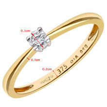 Load image into Gallery viewer, Engagement Ring, 9ct Yellow Gold IJ/I Round Brilliant Diamond Ring, 0.10ct Diamond Weight