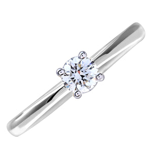 Engagement Ring, 18ct White Gold H/SI Round Brilliant Certified Diamond Ring, 0.25ct Diamond Weight