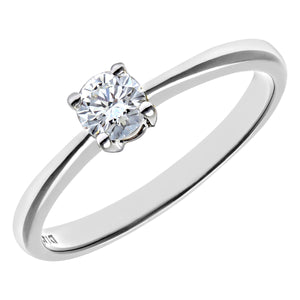 Engagement Ring, 18ct White Gold IJ/I Round Brilliant Certified Diamond Ring, 0.25ct Diamond Weight