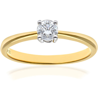 Engagement Ring, 18ct Yellow Gold H/SI Round Brilliant Certified Diamond Ring, 0.25ct Diamond Weight