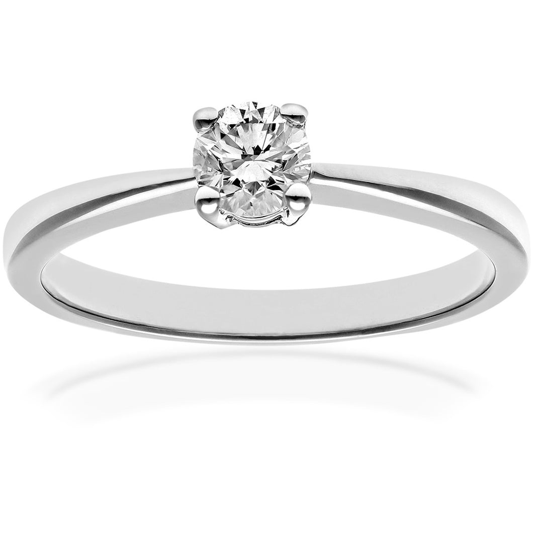 Engagement Ring, 18ct White Gold H/SI Round Brilliant Certified Diamond Ring, 0.33ct Diamond Weight