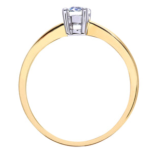 Engagement Ring, 18ct Yellow Gold H/SI Round Brilliant Certified Diamond Ring, 0.33ct Diamond Weight