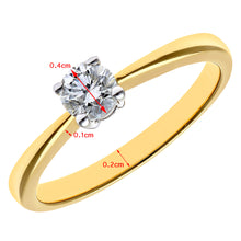 Load image into Gallery viewer, Engagement Ring, 18ct Yellow Gold H/SI Round Brilliant Certified Diamond Ring, 0.33ct Diamond Weight