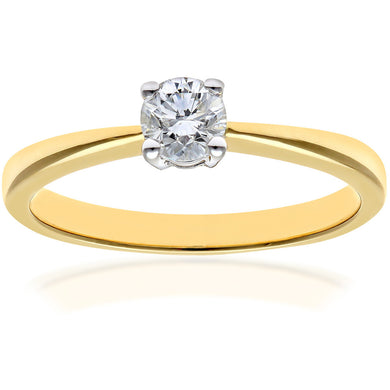 Engagement Ring, 18ct Yellow Gold IJ/I Round Brilliant Certified Diamond Ring, 0.33ct Diamond Weight