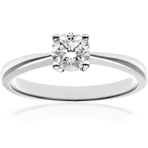 Engagement Ring, 18ct White Gold H/SI Round Brilliant Certified Diamond Ring, 0.50ct Diamond Weight