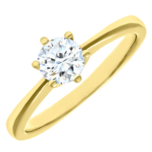 Engagement Ring, 18ct Yellow Gold H/SI Round Brilliant Certified Diamond Ring, 0.50ct Diamond Weight