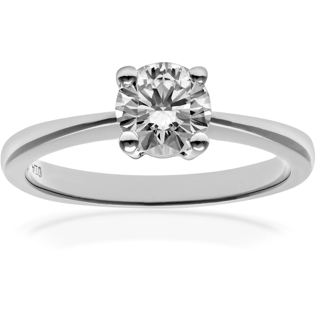 Engagement Ring, 18ct White Gold H/SI Round Brilliant Certified Diamond Ring, 0.75ct Diamond Weight