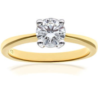 Engagement Ring, 18ct Yellow Gold H/SI Round Brilliant Certified Diamond Ring, 0.75ct Diamond Weight
