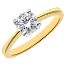 Load image into Gallery viewer, Engagement Ring, 18ct Yellow Gold IJ/I Round Brilliant Certified Diamond Ring, 0.75ct Diamond Weight