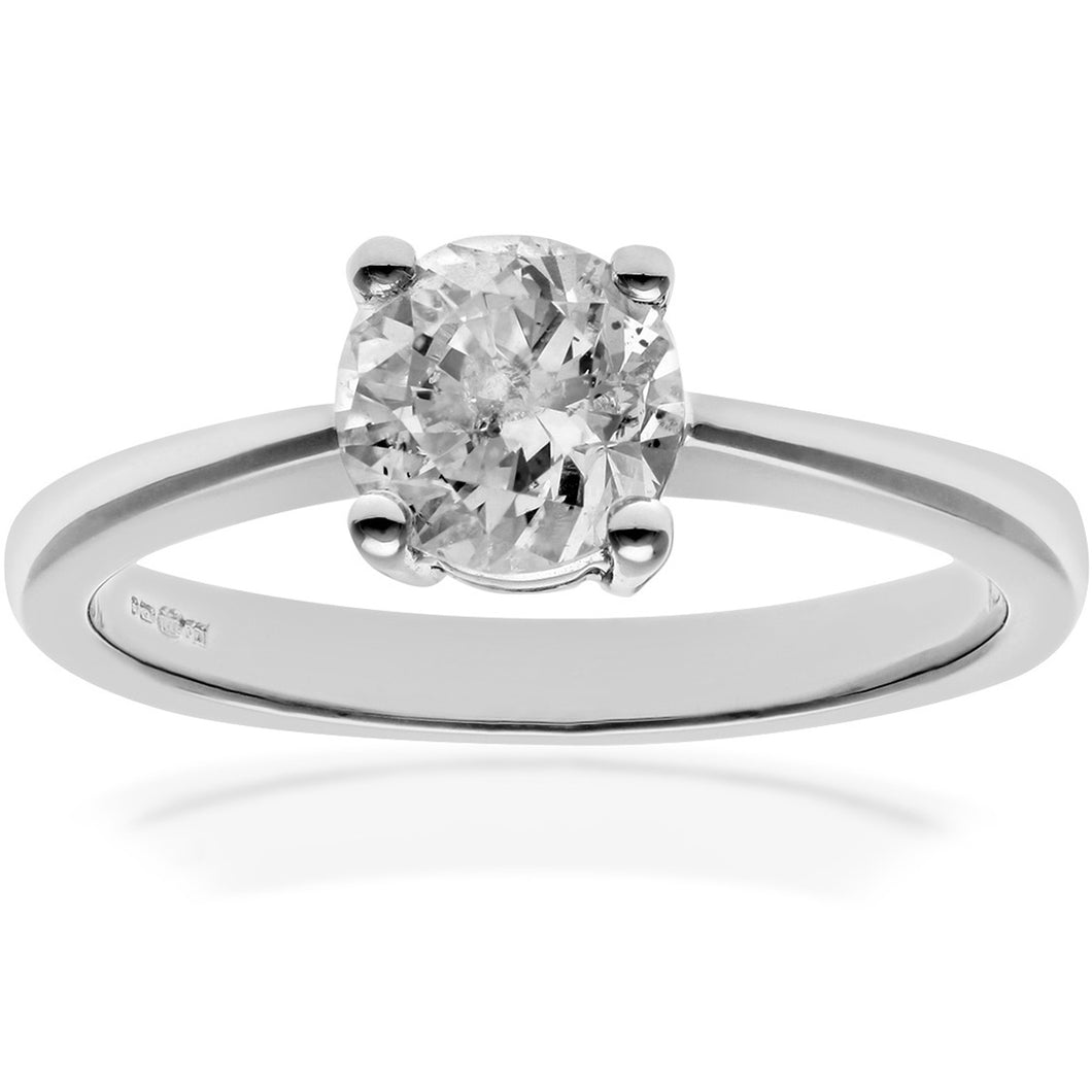 Engagement Ring, 18ct White Gold H/SI Round Brilliant Certified Diamond Ring, 1.00ct Diamond Weight