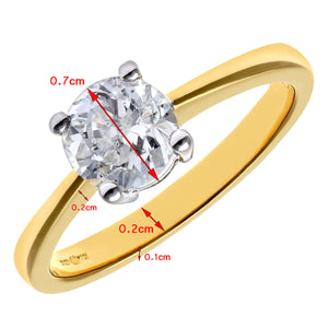 Engagement Ring, 18ct Yellow Gold H/SI Round Brilliant Certified Diamond Ring, 1.00ct Diamond Weight