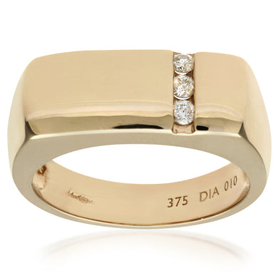 9ct Yellow Gold Mens Diamond Ring
