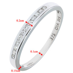 9ct White Gold Diamond Channel Set Eternity Ladies Ring