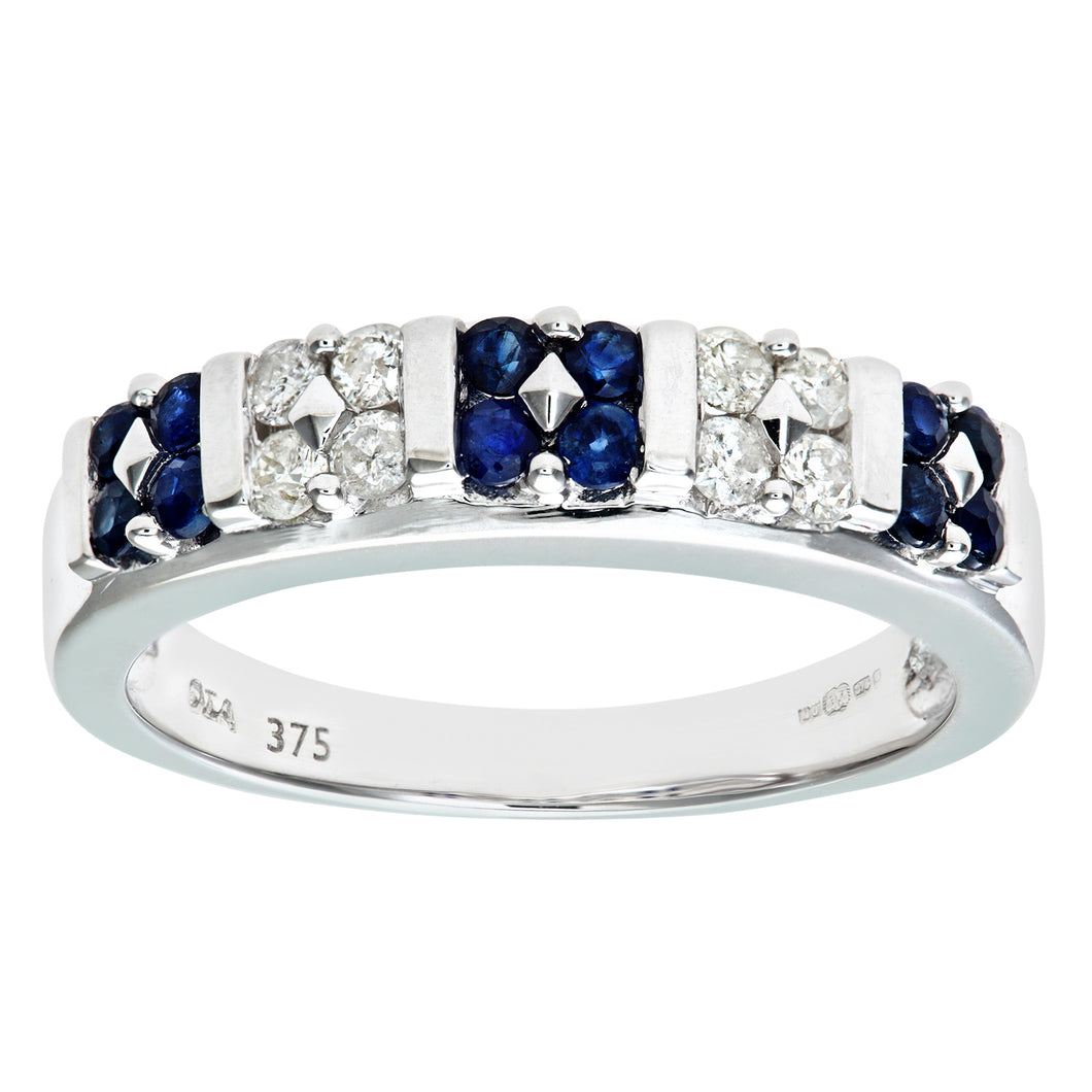 9ct White Gold Sapphire And Diamond Fancy Eternity Ring