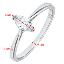 Load image into Gallery viewer, 9ct White Gold Diamond Single Stone Marquise Shaped Ladies Ring