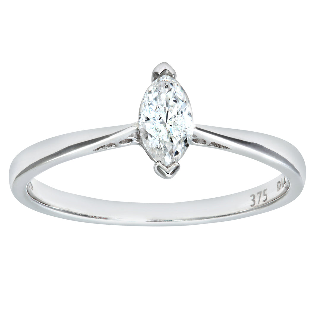 9ct White Gold Diamond Single Stone Marquise Shaped Ladies Ring
