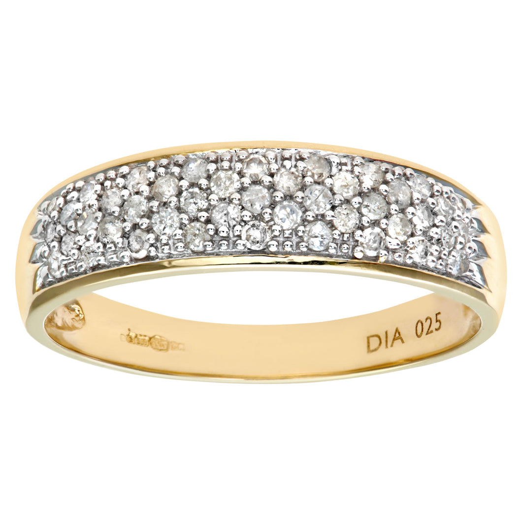 9ct Yellow Gold 0.25ct Diamond Pave Ring