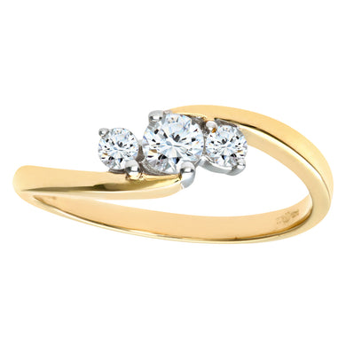 9ct Yellow Gold Diamond Three Stone Ladies Ring