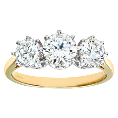 9ct Yellow Gold Cubic Zirconia Three Stone Ladies Ring