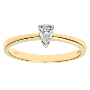 9ct Yellow Gold Diamond Single Stone Pear Shaped Ladies Ring