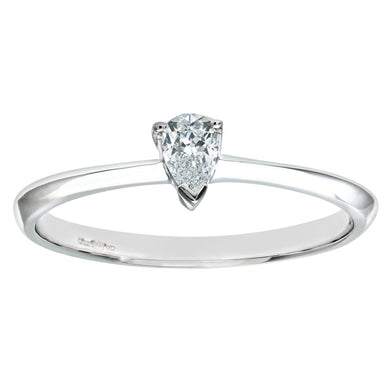9ct White Gold Diamond Single Stone Pear Shaped Ladies Ring