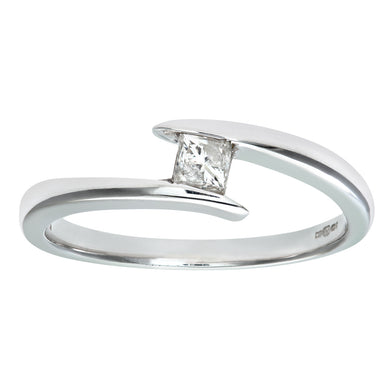 9ct White Gold Diamond Single Stone Princess Cut Twist Ladies Ring