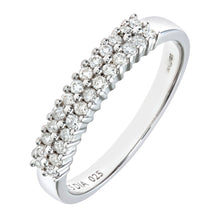 Load image into Gallery viewer, 9ct White Gold Diamond 2 Row Eternity Ladies Ring