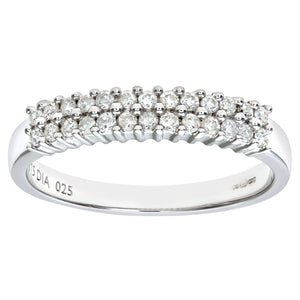 9ct White Gold Diamond 2 Row Eternity Ladies Ring