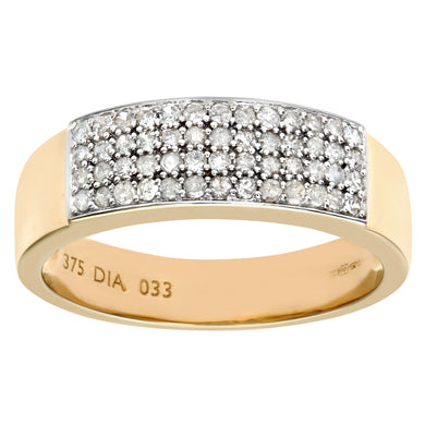 9ct Yellow Gold 0.33ct Diamond Pave Ring