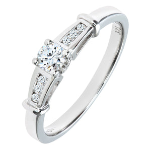 9ct White Gold Diamond Single Stone With Diamond Shoulders Ladies Ring