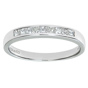 9ct White Gold 0.25ct Princess Cut Diamond Channel Set Half Eternity Ring