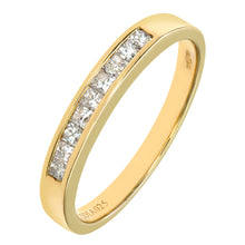 Load image into Gallery viewer, 9ct Yellow Gold 0.25ct Princess Cut Diamond Channel Set Half Eternity Ring