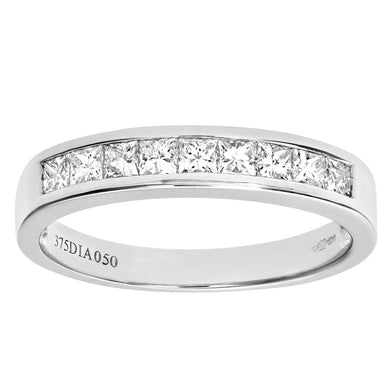 9ct White Gold 0.50ct Princess Cut Diamond Channel Set Half Eternity Ring