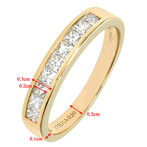 9ct Yellow Gold 0.50ct Princess Cut Diamond Channel Set Half Eternity Ring