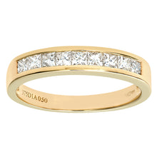 Load image into Gallery viewer, 9ct Yellow Gold 0.50ct Princess Cut Diamond Channel Set Half Eternity Ring