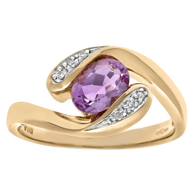 Ladies 9ct Yellow Gold Diamond & Amethyst Crossover Ring
