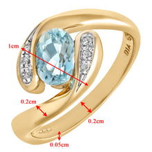 Load image into Gallery viewer, Ladies 9ct Yellow Gold Diamond & Blue Topaz Crossover Ring