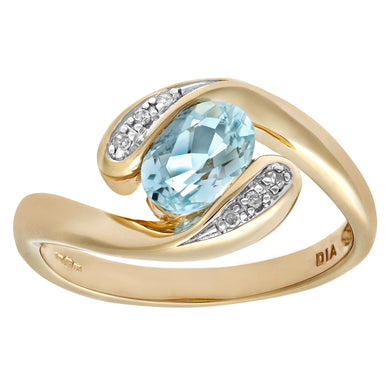 Ladies 9ct Yellow Gold Diamond & Blue Topaz Crossover Ring