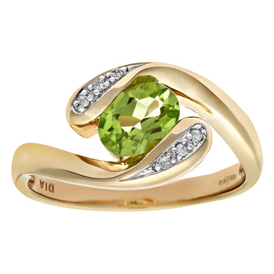 Ladies 9ct Yellow Gold Diamond and Peridot Crossover Ring