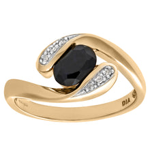 Load image into Gallery viewer, Ladies 9ct Yellow Gold Diamond and Sapphire Crossover Ring