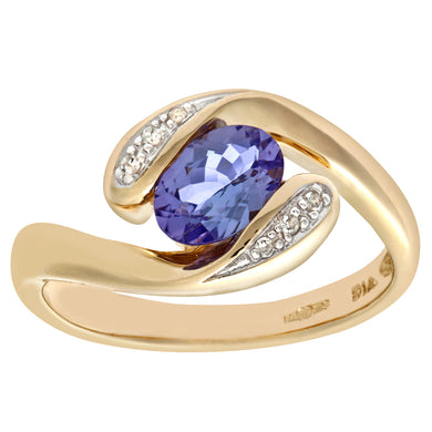 9ct Yellow Gold Tanzanite and Diamond Twist Ring