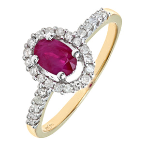 9ct Yellow Gold Ruby And Diamond Fancy Cluster Ring