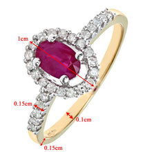 Load image into Gallery viewer, 9ct Yellow Gold Ruby And Diamond Fancy Cluster Ring
