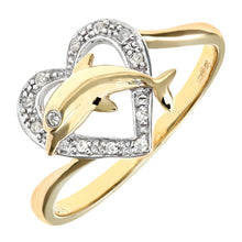 Load image into Gallery viewer, 9ct Yellow Gold Diamond Dolphin Heart Ring