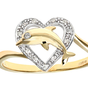 9ct Yellow Gold Diamond Dolphin Heart Ring