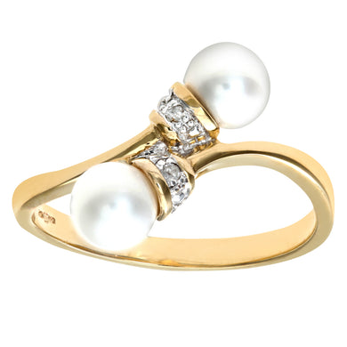 Ladies 9ct Yellow Gold Diamond & Pearl Crossover Ring