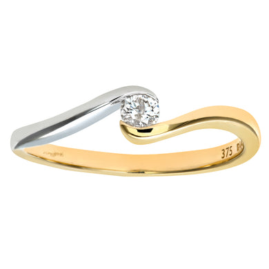 9ct Yellow/White Gold Diamond Single Stone Twist Ladies Ring
