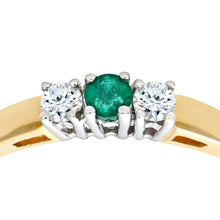 Load image into Gallery viewer, 9ct Yellow Gold Diamond and Emerald 3 Stone Ladies Rring