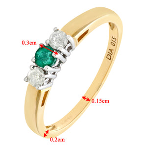 9ct Yellow Gold Diamond and Emerald 3 Stone Ladies Rring